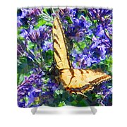 Butterfly With Purple Flowers 3 Shower Curtain