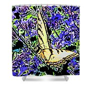 Butterfly With Purple Flowers Shower Curtain