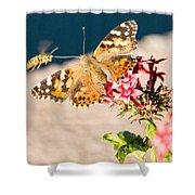 Butterfly's Friend Shower Curtain