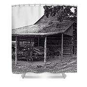 bw Antique Barn Shower Curtain