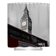Bw Big Ben And Red London Bus Shower Curtain