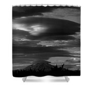 Bw Clouds Over Mt Adams Shower Curtain