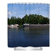 By A Canal Panorama Shower Curtain