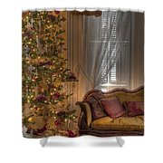 By The Christmas Tree Shower Curtain