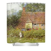 By The Cottage Gate Wc On Paper Shower Curtain