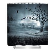 By The Moonlight Shower Curtain by Lourry Legarde