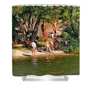 By The River Shower Curtain