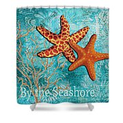 By The Sea Shore Original Coastal Painting Colorful Starfish Art By Megan Duncanson Shower Curtain by Megan Duncanson