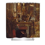 By The Studio Fire, 1860 Shower Curtain by John Dawson Watson
