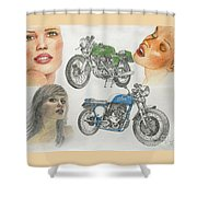 Bykes And Byrds 1 Shower Curtain