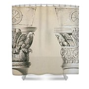 Byzantine Capitals From Columns In The Nave Of The Church Of St Demetrius In Thessalonica Shower Curtain