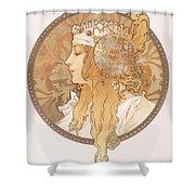 Byzantine Head Of A Blond Maiden Shower Curtain