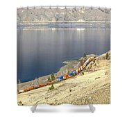 C P R And C N R Freight Trains Shower Curtain