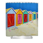 Cabana Row - Colorful Beach Cabanas Shower Curtain