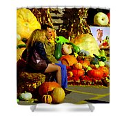 Cabbage Patch Kids - Giant Pumpkins - Marche Atwater Montreal Market Scene Art Carole Spandau Shower Curtain