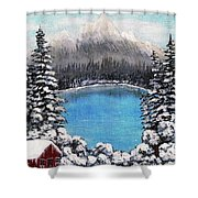 Cabin By The Lake - Winter Shower Curtain by Barbara Griffin