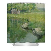 Cabin By The Pond Shower Curtain