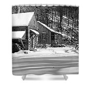 Cabin Fever In Black And White Shower Curtain