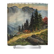 Cabin In The Alps Shower Curtain