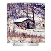 Cabin In The Snow Shower Curtain