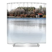 Cabin On A Lake Shower Curtain