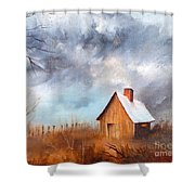 Cabin With Fence Shower Curtain