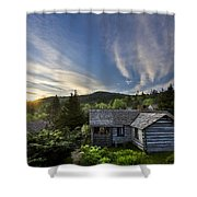 Cabins At Dawn Shower Curtain by Debra and Dave Vanderlaan