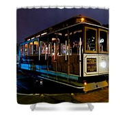 Cable Car At Night Shower Curtain