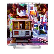 Cable Car At The Powell Street Turnaround Shower Curtain