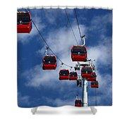 Red Line Cable Car Gondolas Bolivia Shower Curtain