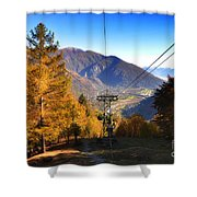 Cableway In Autumn Shower Curtain