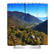 Cableway Over The Mountain Shower Curtain