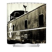 Caboose - Bw - Vintage Shower Curtain