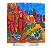 Cacti With Red Rocks And Rr Trestle Shower Curtain