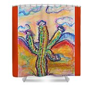 Cactus And Clouds Shower Curtain