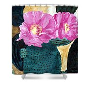 Cactus And The Pink Flower Shower Curtain