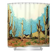 Cactus With A 'tude Shower Curtain