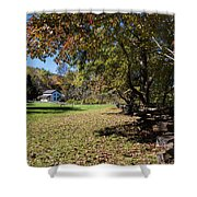 Cades Cove House And Fall Colors Shower Curtain