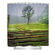 Cades Cove Misty Tree Shower Curtain