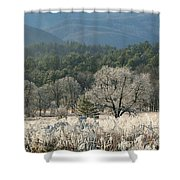 Cades Cove Panorama Shower Curtain