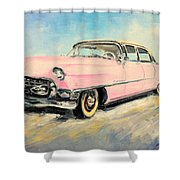 Cadillac Fleetwood 1955 Pink Shower Curtain