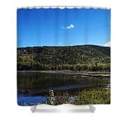 Cadillac Mountain And Lake In Acadia National Park Shower Curtain