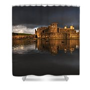 Caerphilly Castle Reflection Shower Curtain