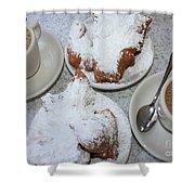 Cafe Au Lait And Beignets Shower Curtain by Carol Groenen