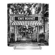 Cafe Beignet Morning Nola - Bw Shower Curtain