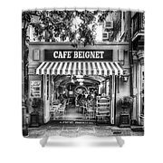 Cafe Beignet Morning Nola - Bw Shower Curtain