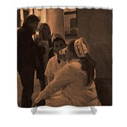 Cafe Du Monde Evening In New Orleans In Monochrome Shower Curtain