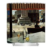 Cafe In A City Square Shower Curtain