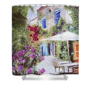 Cafe In The Spring Shower Curtain