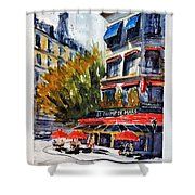 Cafe Le Champ De Mars Shower Curtain